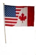 Canada & USA Combo Large 30cm X 46cm Inch Country Stick Flag Banner on 2 Foots Pole .. New