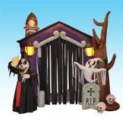 2.6m Halloween Inflatable Haunted House Castle with Skeleton, Ghost & Skulls