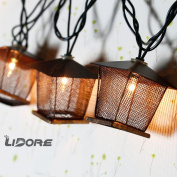 lidore 10 counts vintage bronze iron nets lanterns plugin string lights great for