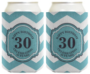 30th Birthday Gifts For All Beer Coolie Celebrating 30 Years Chevron 2 Pack Can Coolie Drink Coolers Coolies Premium Full Colour