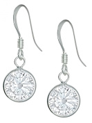 .925 Sterling Silver Round Simulated Diamond CZ Dangle Earrings for Girls, Hypoallergenic