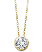 Solitaire CZ Pendant Necklace .925 Sterling Silver Round 8mm Gold Tone Finish