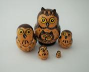 "Russian Nesting Doll, Matreshka ""Dark Brown Owl Family"" 5.1cm Tall"