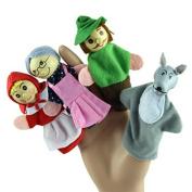 dzt1968® 4PCS/Set Little Red Riding Hood Christmas Animal Finger Puppet toy Educational Toys Storytelling Doll