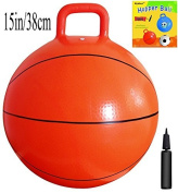Space Hopper Ball with Pump in Basketball Style, 15in/38cm Diameter for Ages 3-5, Hop Ball, Kangaroo Bouncer, Hoppity Hop