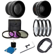 Deluxe Lens Kit For Gopro Hero4 Hero3+ Camera 52MM 2X Professional Telephoto Lens With High Definition 52MM Wide Angle Lens + Close-Up Macro Filter Set (+1 +2 +4 +10) With 3 PC Filter Kit UV CPL FLD Adapter 52mm For GoPro Hero4 Hero3+ Black Silver Whit ..
