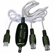Bespeco USB MIDI 1.8m Interface with MIDI 2.5cm /1-Out and LED Bulb for MIDI I/O