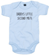 Second Mate Baby Body Suit Daddys little Newborn Babygrow Blue with Black Print 6-9 months