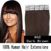 Tape-in Hair Extension 100% Remy Human Hair Straight 41cm 30g,20pcs/set,#2 Dark Brown