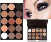 LyDia® 15 COLOURS EYESHADOW PALETTE Smokey Eye Effect Neutral Nude/White Highlight/Brown/Black/Chocolate