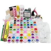 Coscelia 78 Acrylic Powder Liquid Glitter Glue Brush File Nail Art Decoration Set