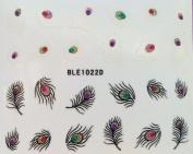 Nail Art 3D Glitter Stickers - Feathers 1022