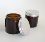 60ml Amber Glass Jars with Aluminium EPE Lined Lids (Pack of 2). Suitable for Aromatherapy, Creams, Gels, Serums, Wax, Ointments, First Aid etc