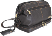 Mens Rowallan Soft Black Or Brown Leather Framed Travel Wash Toiletry Bag - 7493