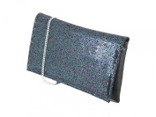 LONI Glitter Party Evening Clutch Shoulder Bag in Black Teal Pink