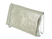 LONI Glitter Party Evening Clutch Shoulder Bag in Silver Gold