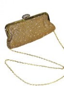 ICE (2532-1) Designer Look Soft Clutch Bag Diamante Front and Clasp Gold