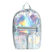 M-BAG Women Fashion Brilliant Hologram Laser Pu Leather Laptop Shoulder Bag School Backpack Silver