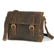 Greenburry . Vintage leather Handbag Shoulder Bag Cross Over Brown, 29 x 23 x 8 CM