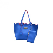 Blue Contrast Pink Lining Scallop Edge Cross Hatched Faux Leather Tote Shoulder Handbag with Zipped Pouch