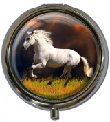 """Pillbox in a round shape """"White horse"""""""
