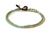 MGD, Blue Turquoise Colour Bead and Brass Bell Anklet. 2-strand Anklets Beautiful Handmade Brass Anklet. Small Anklets. Ankle Bracelet. Fashion Jewellery for Women, Teens and Girls, JB-0258A