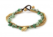 MGD, Green Aventurine Colour Bead and Brass Bell Anklet. 3-strand Elephant Anklets Beautiful Handmade Brass Anklet. Small Anklets. Ankle Bracelet. Fashion Jewellery for Women, Teens and Girls, JB-0277A
