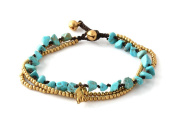 MGD, Blue Turquoise Colour Bead and Brass Bell Anklet. 3-strand Elephant Anklets Beautiful Handmade Brass Anklet. Small Anklets. Ankle Bracelet. Fashion Jewellery for Women, Teens and Girls, JB-0276A