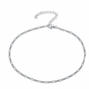925 Sterling Silver 28cm Figaro Curb Chain Anklet Bracelet Anklet / Ankle Chain / Ankle Bracelet includes Pretty Gift Box- Adjustable