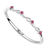 Saphira fashion jewellery. Silver Bracelet. Pink Austrian Crystal. elements. Suitable for small wrists (max 15cm circumference).