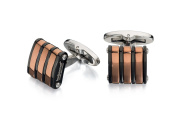 Fred Bennett Stainless Steel Cufflinks With Black & Brown PVD