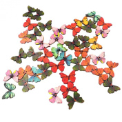 niceEshop(TM) 50 Pcs Colourful Butterfly Shaped Wooden Buttons
