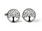 TREE of LIFE - Glass Picture Cufflinks - Silver Plated
