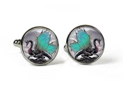 WINGED DRAGON - Glass Picture Cufflinks - Silver Plated