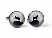HOWLING WOLF - Glass Picture Cufflinks - Silver Plated