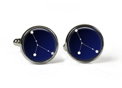 CANCER Constellation Sky Zodiac - Glass Picture Cufflinks - Silver Plated