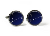 PISCES Constellation Sky Zodiac - Glass Picture Cufflinks - Silver Plated