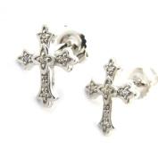 Silver earings 'Croix Gothique'white.