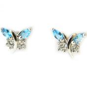 Silver earings 'Papillons De Charme'aquamarine.