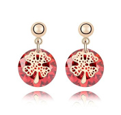 Saphira fashion jewellery. Golden earrings. Red Austrian Crystal. Elements. Solitaire and four-leaf clover.