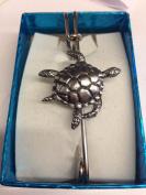 """Turtle WE-SLTUKR kilt pin Scarf or Brooch pin pewter emblem 3"""" 7.5 cm"""