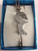 "Seahorse WE-SH kilt pin Scarf or Brooch pin pewter emblem 3"" 7.5 cm"