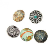 Souarts Mixed Round Glass Snap Button Fit DIY Bracelets 18mm Pack of 10pcs