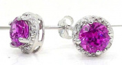 Elizabeth Jewellery 2 Ct Pink Sapphire & Diamond Round Stud Earrings 14Kt White Gold