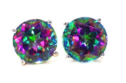 Elizabeth Jewellery 2 Ct Natural Mystic Topaz Round Stud Earrings 14Kt White Gold
