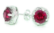Elizabeth Jewellery 2 Ct Created Ruby & Diamond Round Stud Earrings 14Kt White Gold & Sterling Silver