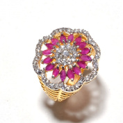 Zewar Women's Ring Red Ruby CZ Normal Size High Quality Fine AD Gemstone Natural Look Beauty Jewellery White