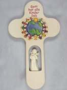 Child Cross Carved Angel globe with text 21 x 12.5 x 2 cm