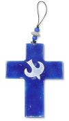 Glass cross with dove blue white with ball band 10 x 7,5 cm