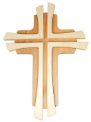 Wooden cross two solid beech stained 35 x 24 x 2 cm